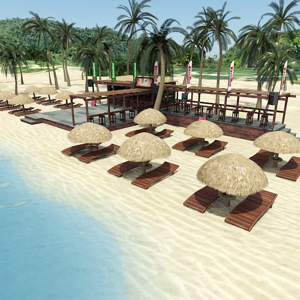 Beach bar scene max for Food bar 3d model