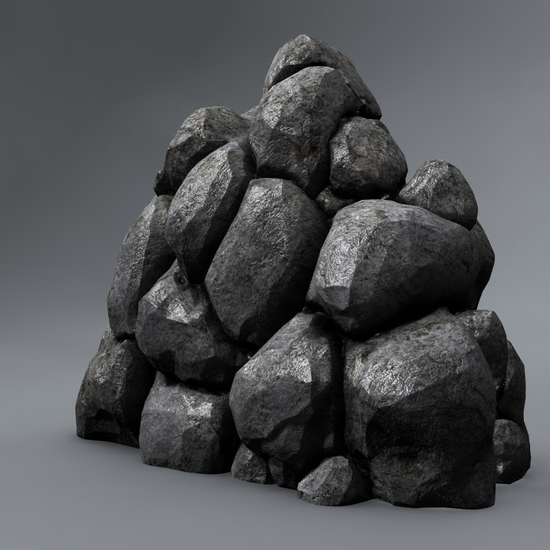 3d normal mapped stone pile