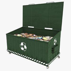 3d model dumpster contains green