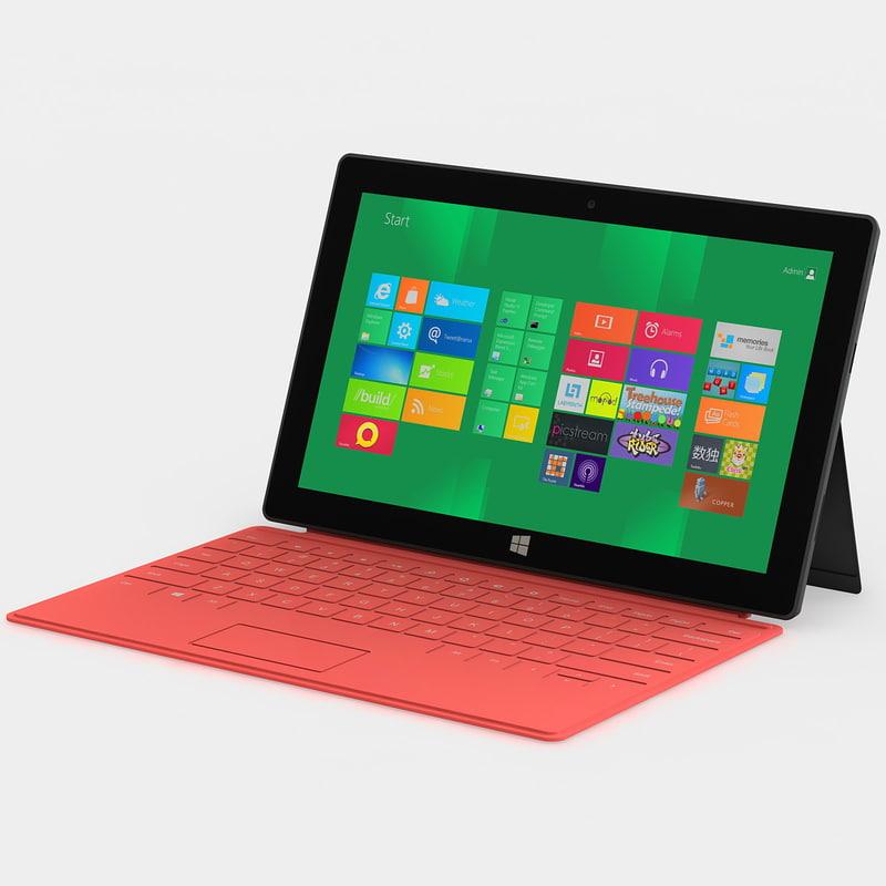 3d model orange microsoft surface tablet