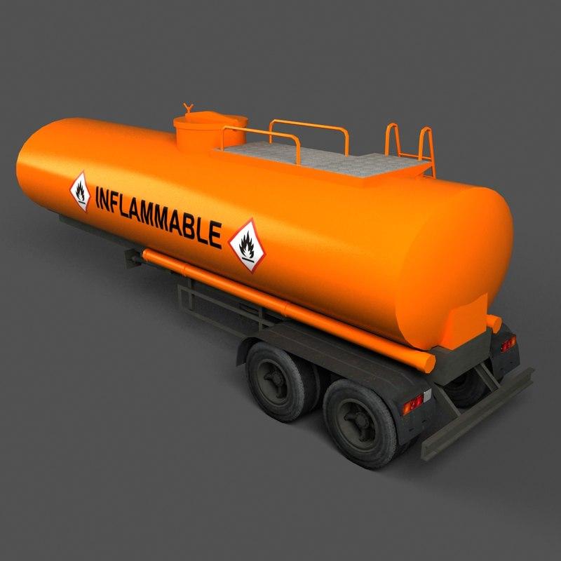 3d model oil tank trailer