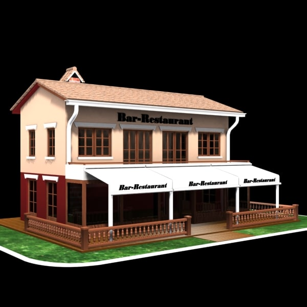 restaurant bar cafe 3d model