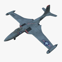 mcdonnell f2h banshee jet fighter 3d model