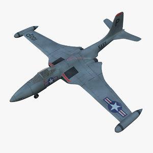 mcdonnell f2h banshee jet fighter 3d model