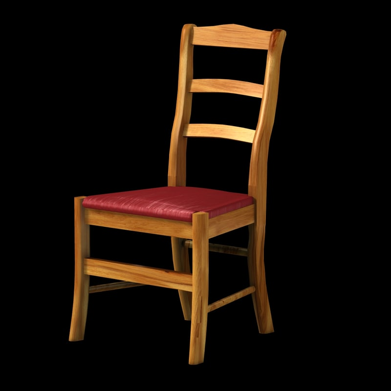 wood silk chair 3d model