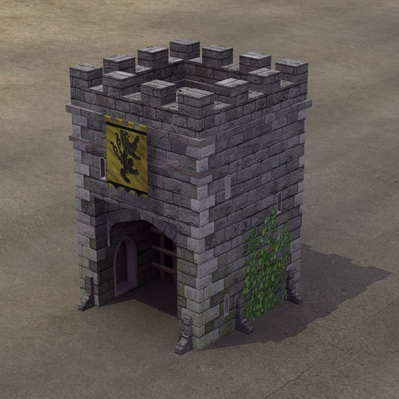 3d medieval castle gatehouse model