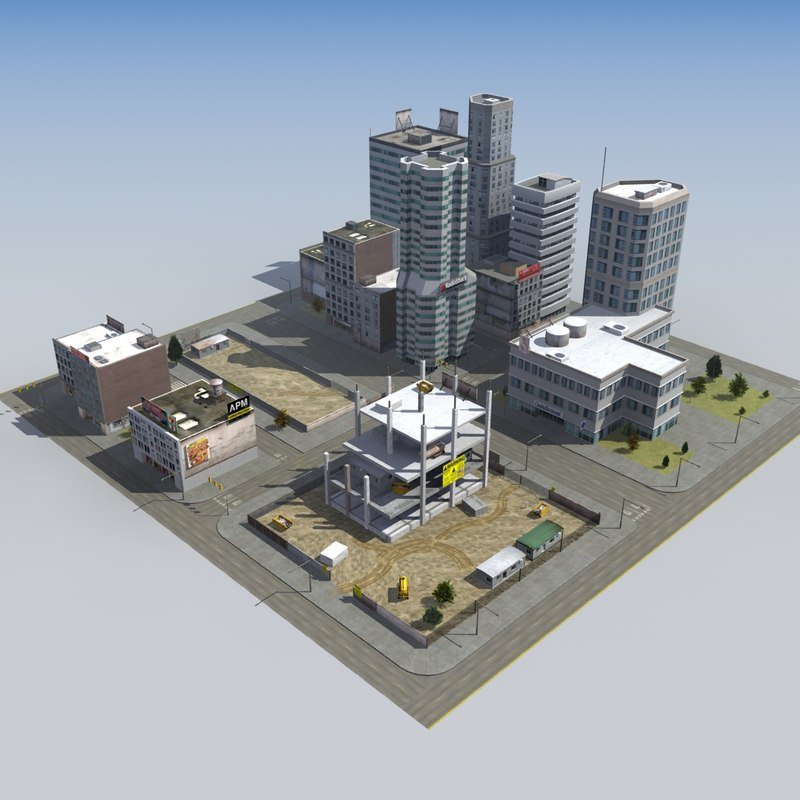 3d construction site city block model 3d site