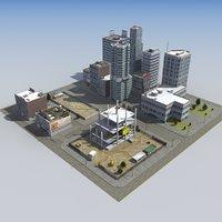 3d construction site city block model