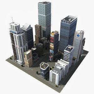3d model of downtown skyscraper city block