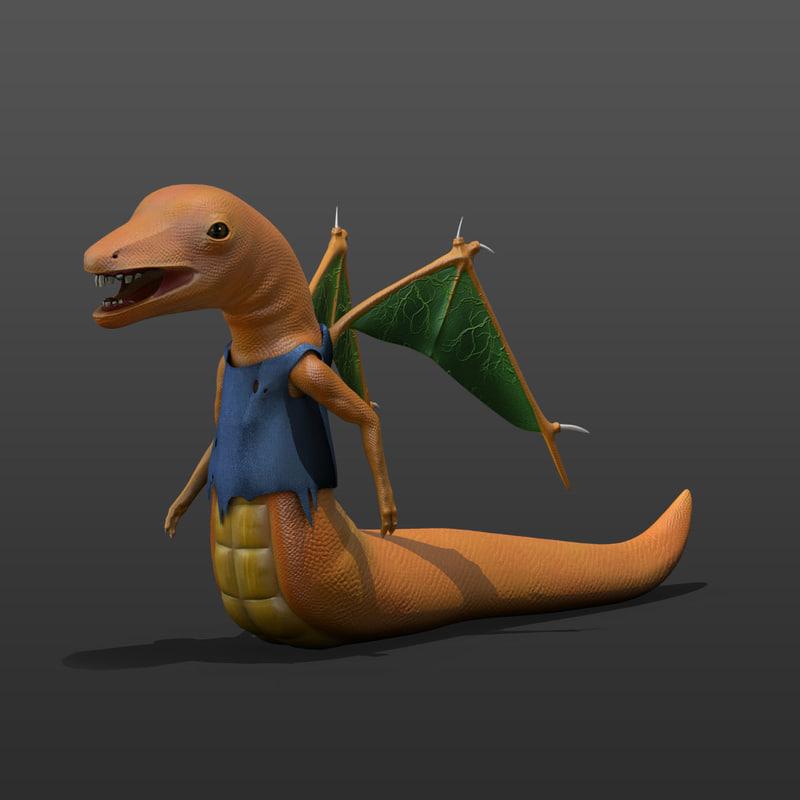 flying worm 3d obj