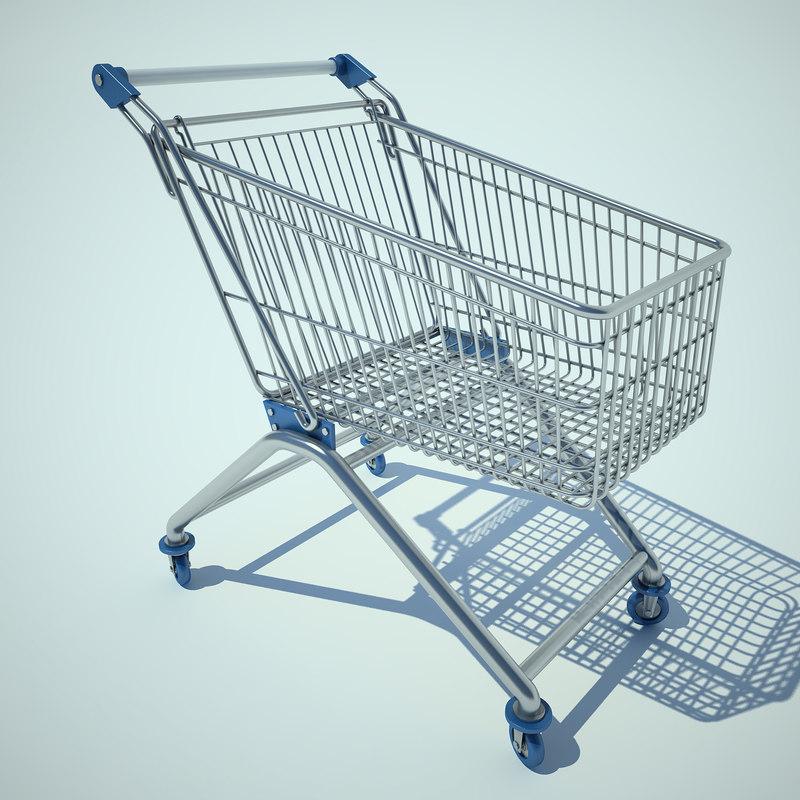 supermarket trolley 3d model