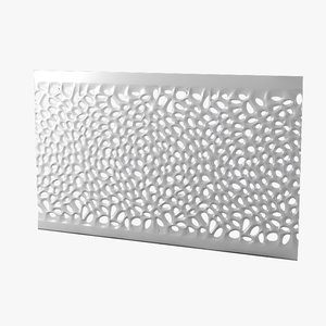 3d model perforated wave wall panel
