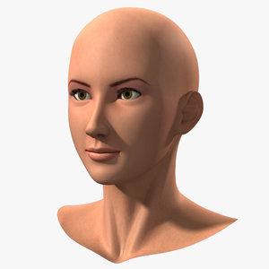 3d head asian girl model