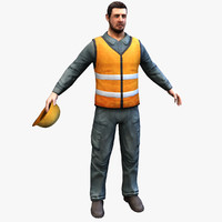worker man real-time 3d max