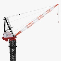 link-belt luffer crane rigged 3d model