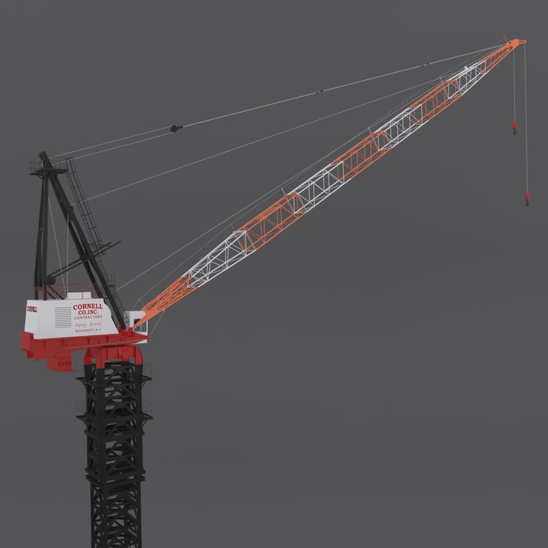 link-belt luffer crane rigged 3d model