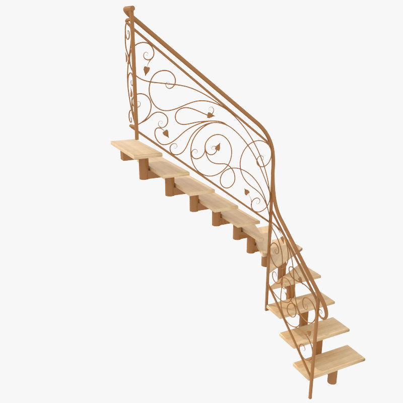 3d model wrought iron stair railing