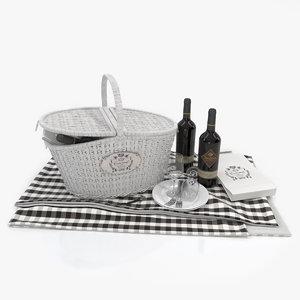 3d picnic basket model