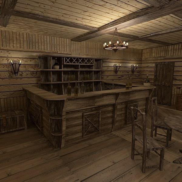 3d interior pub model