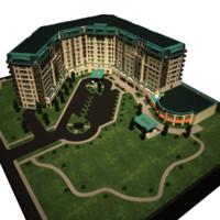 3d hotel building model