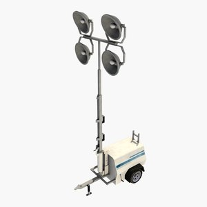 3d model of upright mobile construction light tower