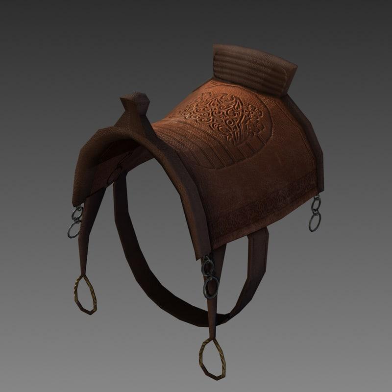 medieval saddle 3d model