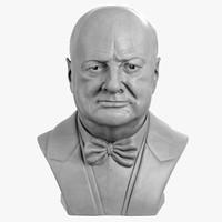 3d decorative bust winston churchill model