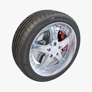 5 spokes wheel bridgestone potenza 3d model