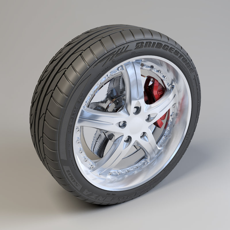 5 spokes wheel bridgestone potenza 3d model