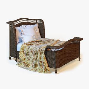 max photorealistic rattan bed