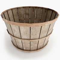 3d old wood basket model