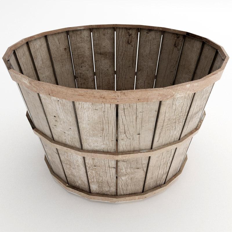 3d old wood basket model