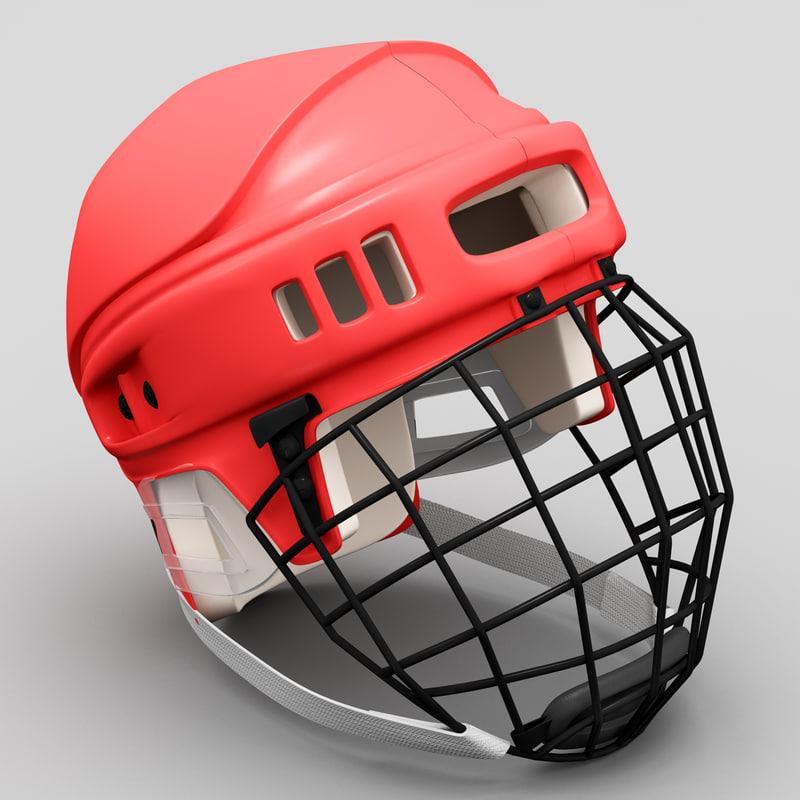 hockey helmet red 3d c4d
