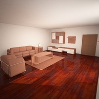 3d model of living room simplistic