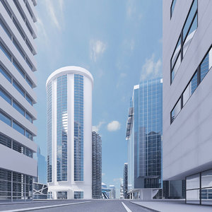 3d white city skyscrapers buildings