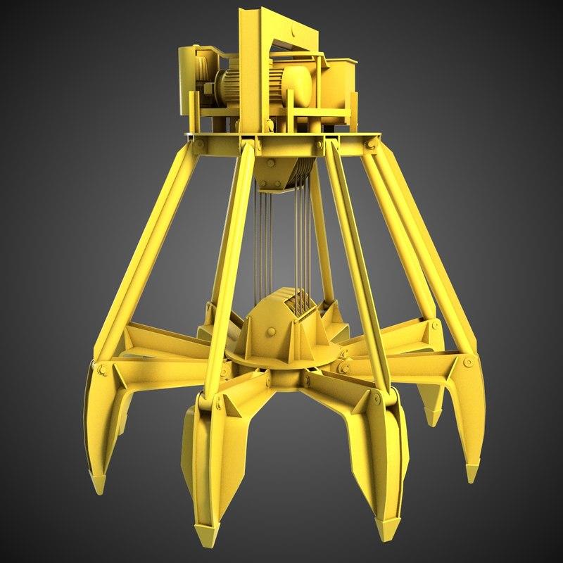3d model of excavator grab 3