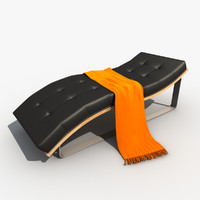 3d model leather chaise lounge