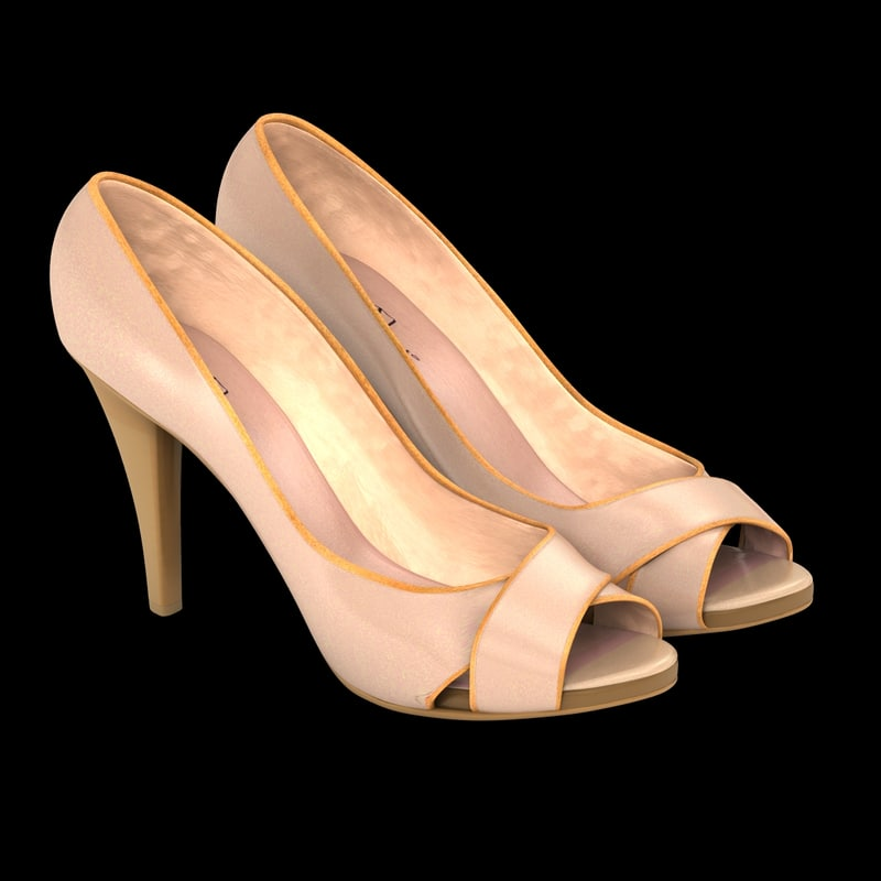 3d model shoes nude heel