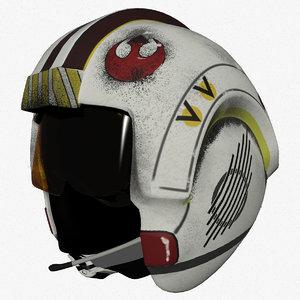 3d model luke x-wing pilot helmet