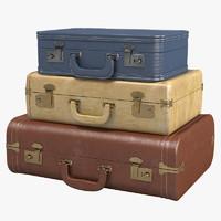 3d vintage suitcase set