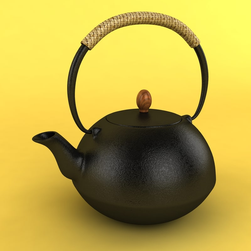 iron tea kettle 3d model