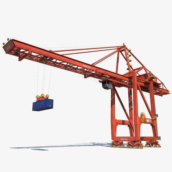 3d model port container crane industrial