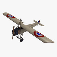 3dsmax morane-saulnier l type fighter aircraft