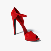red leather heel shoes 3d obj