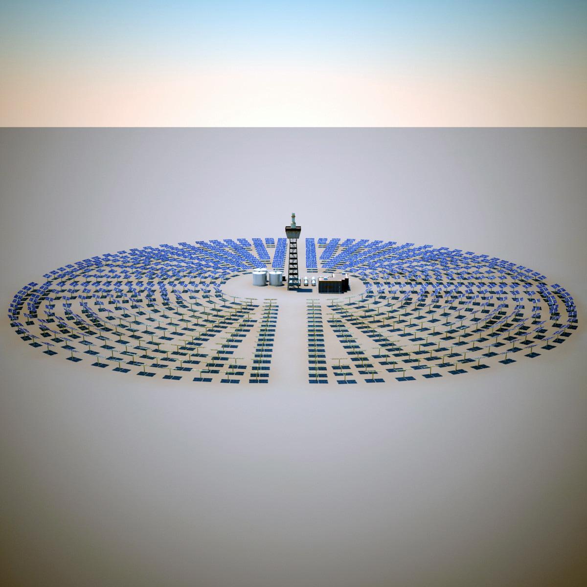 solar tower mojave desert 3d model