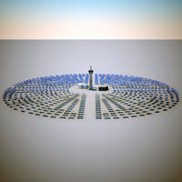 solar tower mojave desert 3d model