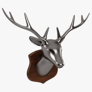 3d deer head sculpture
