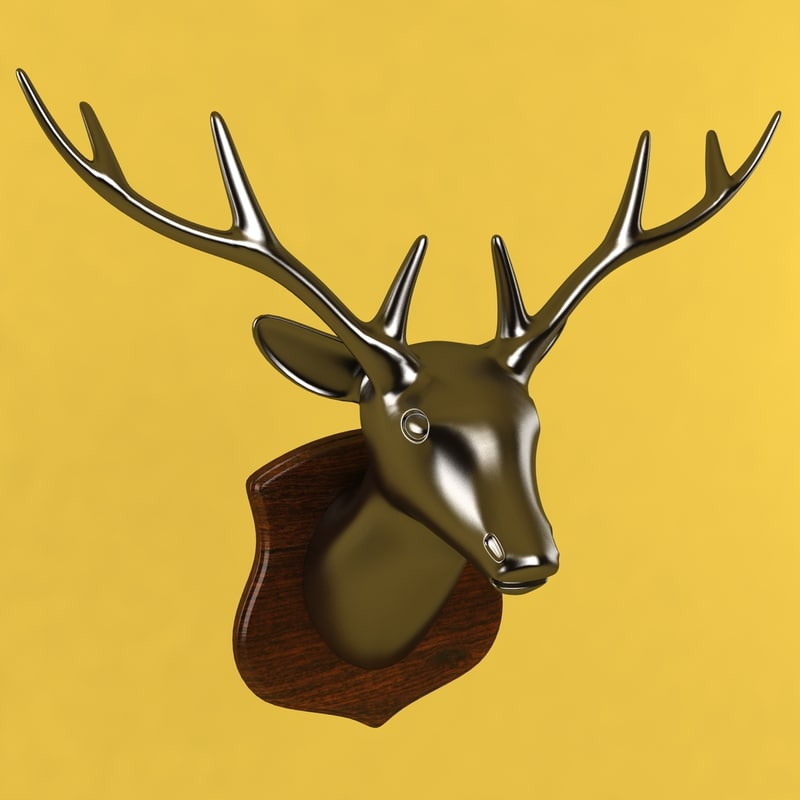 3d deer head sculpture