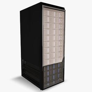 3d model of data server rack