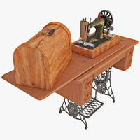antique singer sewing machine 3d model